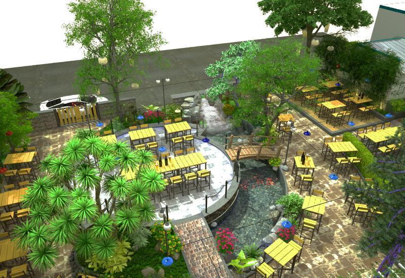 Thiết kế nhà hàng ăn sân vườn sang trọng, hiện đại